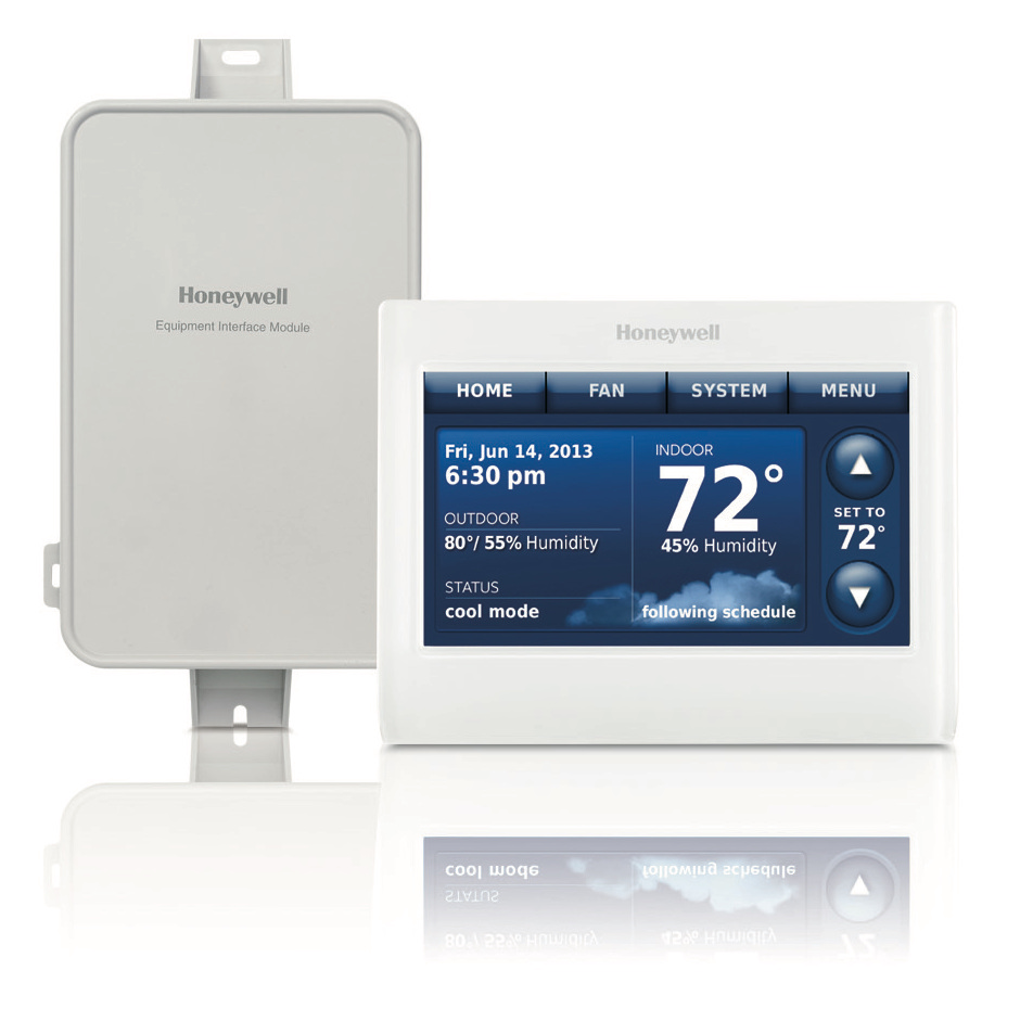 honeywell hvac unit & digital thermostat displaying temperature humidity date and time genz ryan