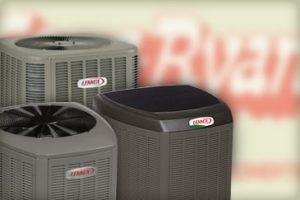 3 staggered lennox hvac units in front of genz ryan red logo heating